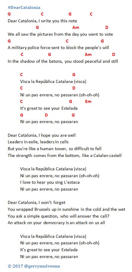 Dear Catalonia, lyrics and chords